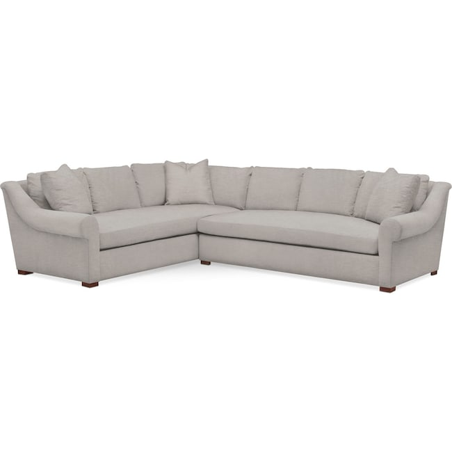 Living Room Furniture - Asher 2 Pc. Sectional with Right Arm Facing Sofa- Cumulus in Dudley Gray