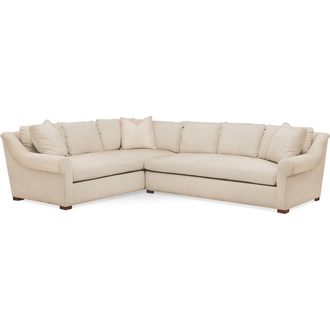 Living Room Furniture - Asher 2 Pc. Sectional with Right Arm Facing Sofa- Cumulus in Anders Ivory