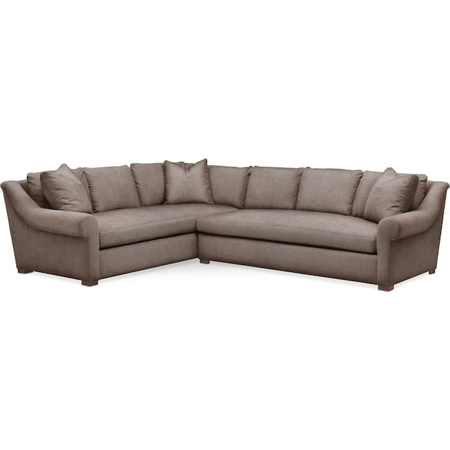 Living Room Furniture - Asher 2 Pc. Sectional with Right Arm Facing Sofa- Cumulus in Hugo Mocha