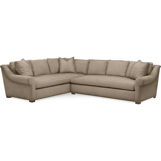 Living Room Furniture - Asher 2 Pc. Sectional with Right Arm Facing Sofa- Cumulus in Statley L Mondo