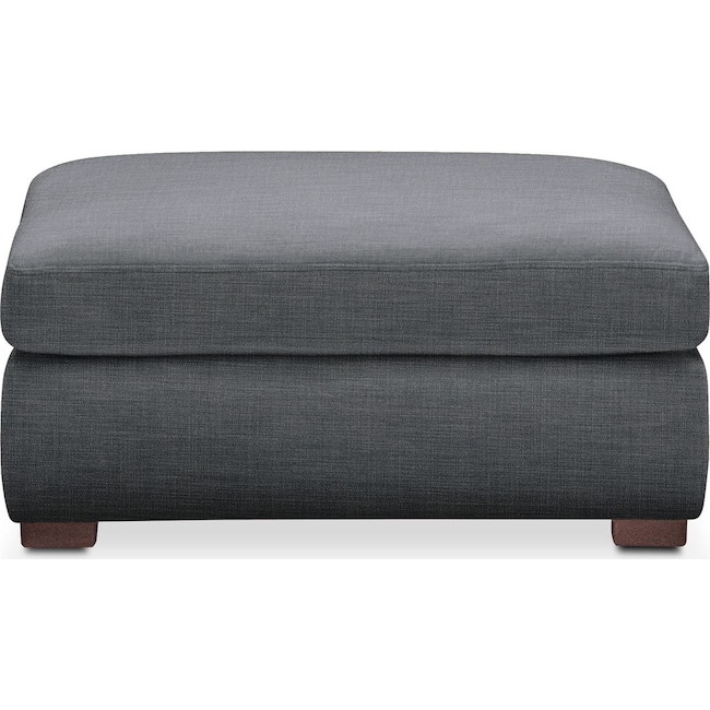 Living Room Furniture - Asher Ottoman- Cumulus in Charcoal