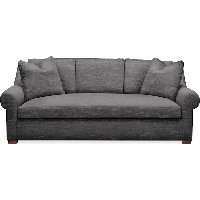 Living Room Furniture - Asher Sofa- Cumulus in Milford II Charcoal