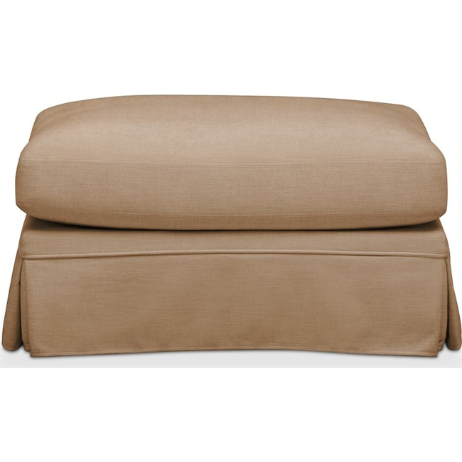 Living Room Furniture - Campbell Ottoman- Cumulus in Hugo Camel