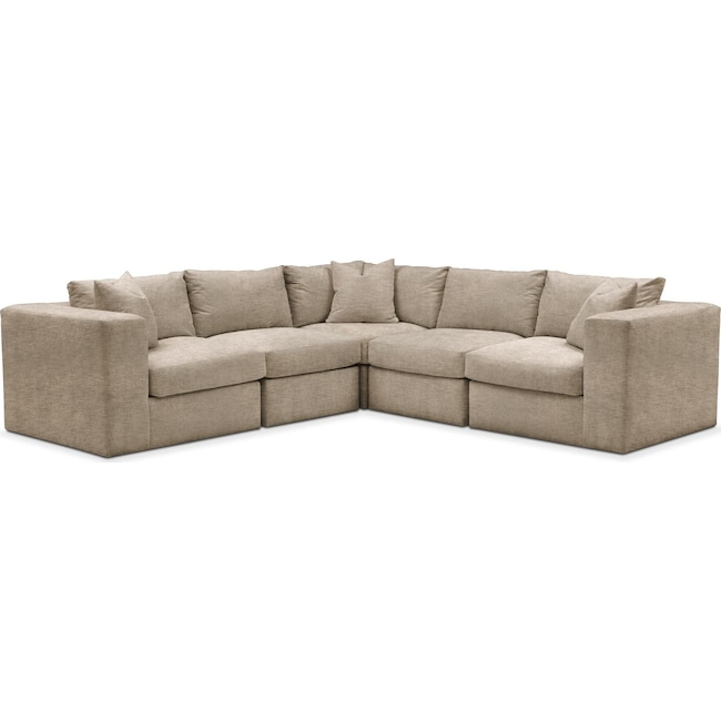 Living Room Furniture - Collin 5 Pc. Sectional - Cumulus in Dudley Burlap