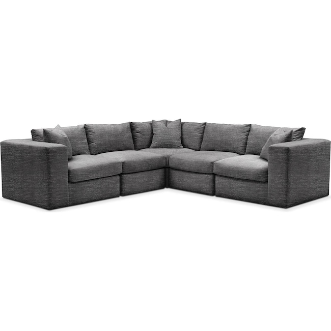Living Room Furniture - Collin 5 Pc. Sectional - Cumulus in Milford II Charcoal