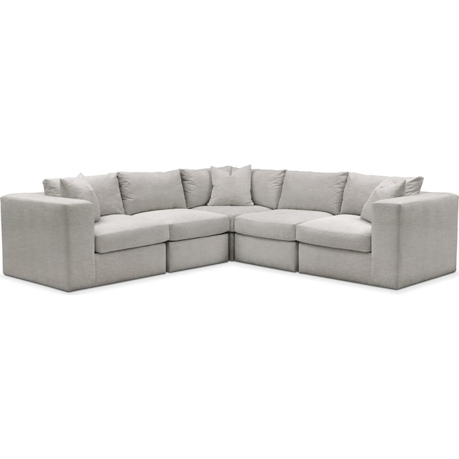 Living Room Furniture - Collin 5 Pc. Sectional - Cumulus in Dudley Gray