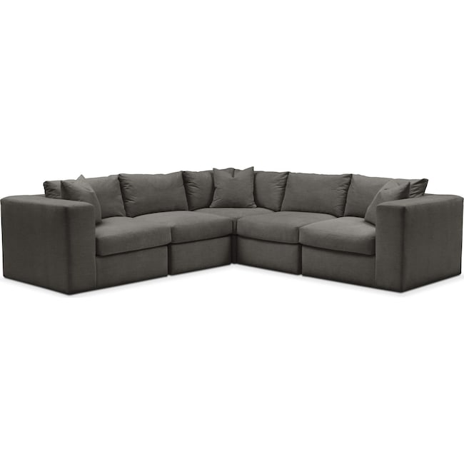 Living Room Furniture - Collin 5 Pc. Sectional - Cumulus in Statley L Sterling