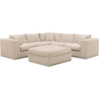 Collin 6 Pc. Sectional- Cumulus in Dudley Buff