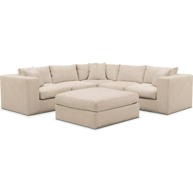 Living Room Furniture - Collin 6 Pc. Sectional- Cumulus in Dudley Buff