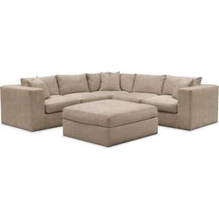 Collin 6 Pc. Sectional- Cumulus in Dudley Burlap