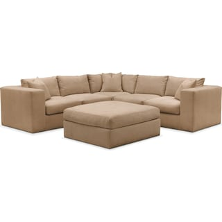 Collin 6 Pc. Sectional- Cumulus in Hugo Camel