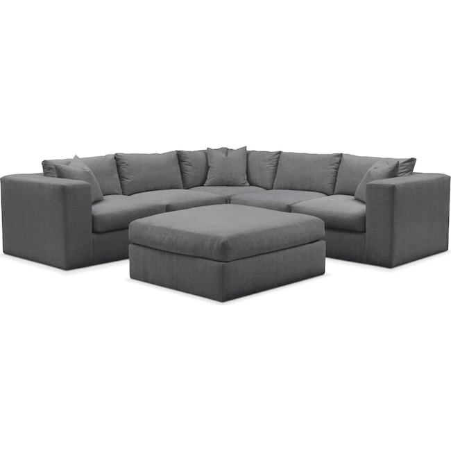 Living Room Furniture - Collin 6 Pc. Sectional- Cumulus in Curious Charcoal