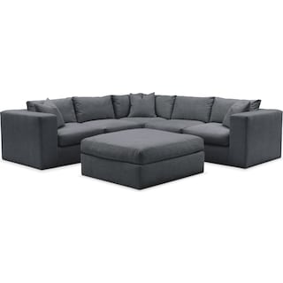 Collin 6 Pc. Sectional- Cumulus in Depalma Charcoal