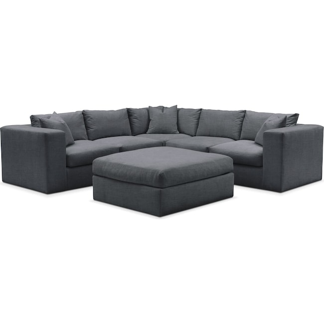 Living Room Furniture - Collin 6 Pc. Sectional- Cumulus in Depalma Charcoal