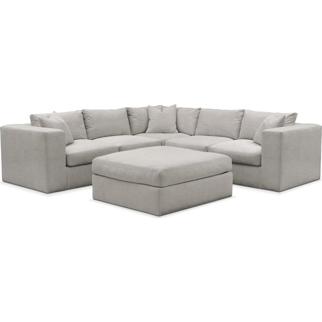 Living Room Furniture - Collin 6 Pc. Sectional- Cumulus in Dudley Gray
