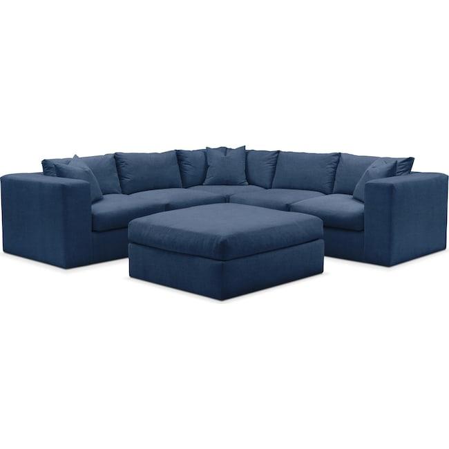 Living Room Furniture - Collin 6 Pc. Sectional- Cumulus in Hugo Indigo