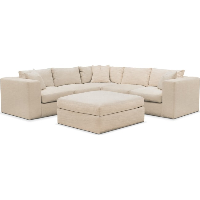 Living Room Furniture - Collin 6 Pc. Sectional- Cumulus in Victory Ivory