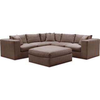 Collin Cumulus 5-Piece Sectional and Ottoman - Oakley III Java