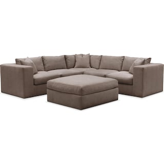 Collin 6 Pc. Sectional- Cumulus in Hugo Mocha