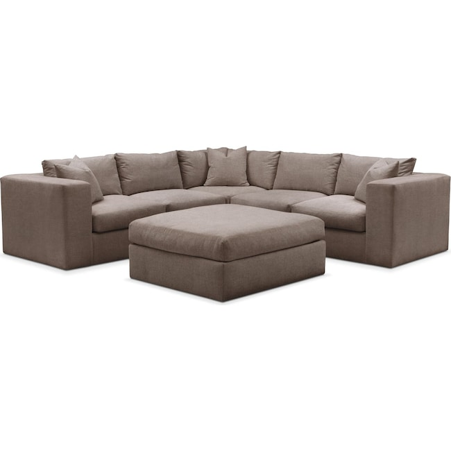 Living Room Furniture - Collin 6 Pc. Sectional- Cumulus in Hugo Mocha