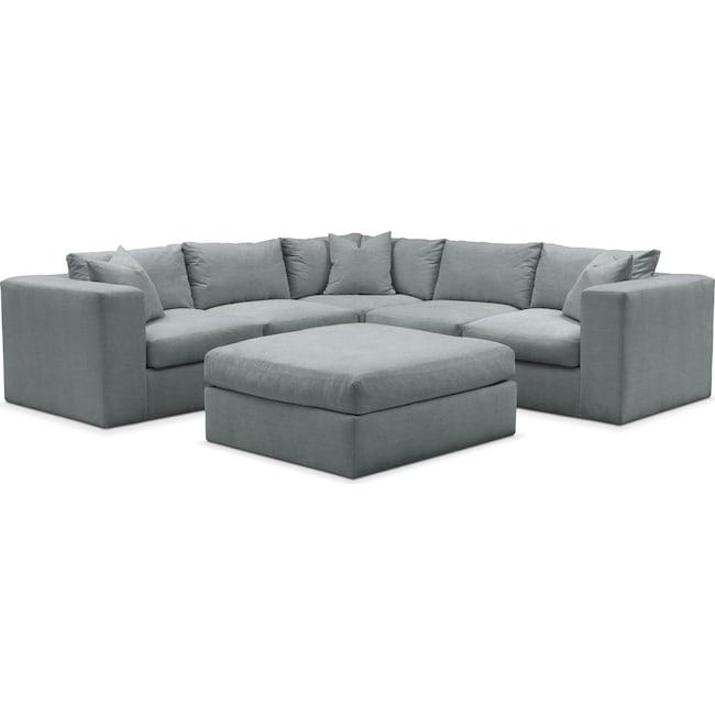 Living Room Furniture - Collin 6 Pc. Sectional- Cumulus in Abington TW Seven Seas