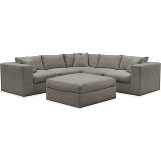 Collin Cumulus 5-Piece Sectional and Ottoman - Victory Smoke