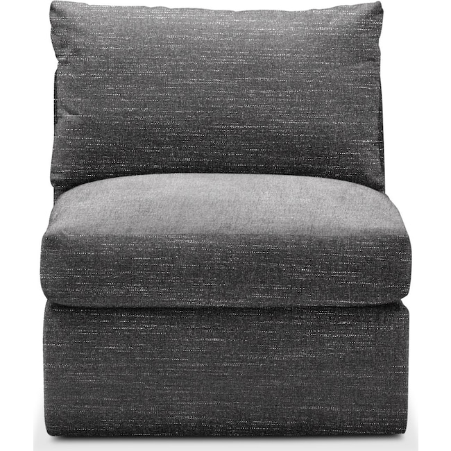Living Room Furniture - Collin Armless Chair- Cumulus in Milford II Charcoal