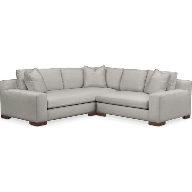 Living Room Furniture - Ethan 2 Pc. Sectional with Right Arm Facing Loveseat- Cumulus in Dudley Gray
