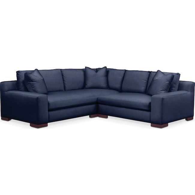 Living Room Furniture - Ethan 2-Piece Sectional with Right-Facing Loveseat - Cumulus in Oakley III Ink