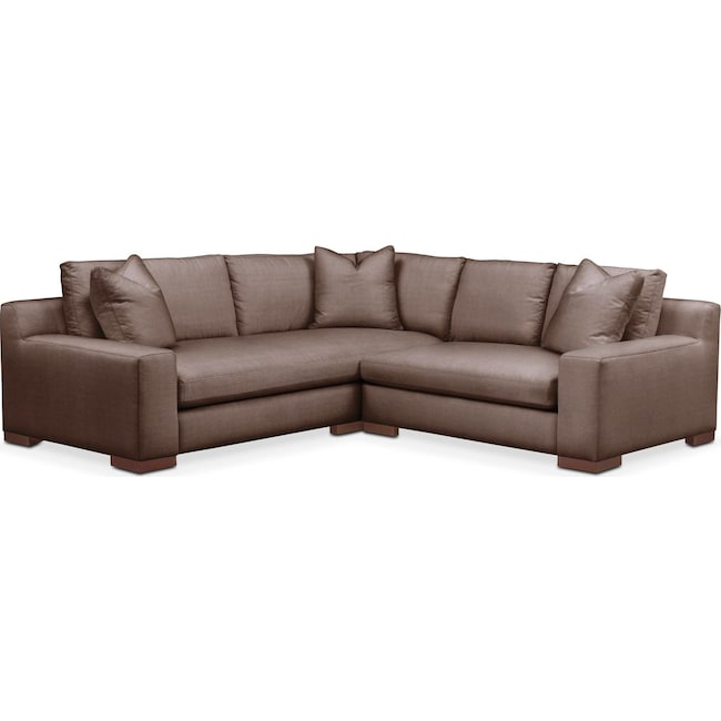 Living Room Furniture - Ethan 2 Pc. Sectional with Right Arm Facing Loveseat- Cumulus in Oakley III Java