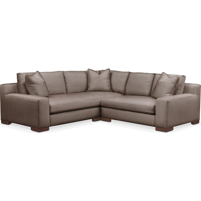 Living Room Furniture - Ethan 2 Pc. Sectional with Right Arm Facing Loveseat- Cumulus in Hugo Mocha