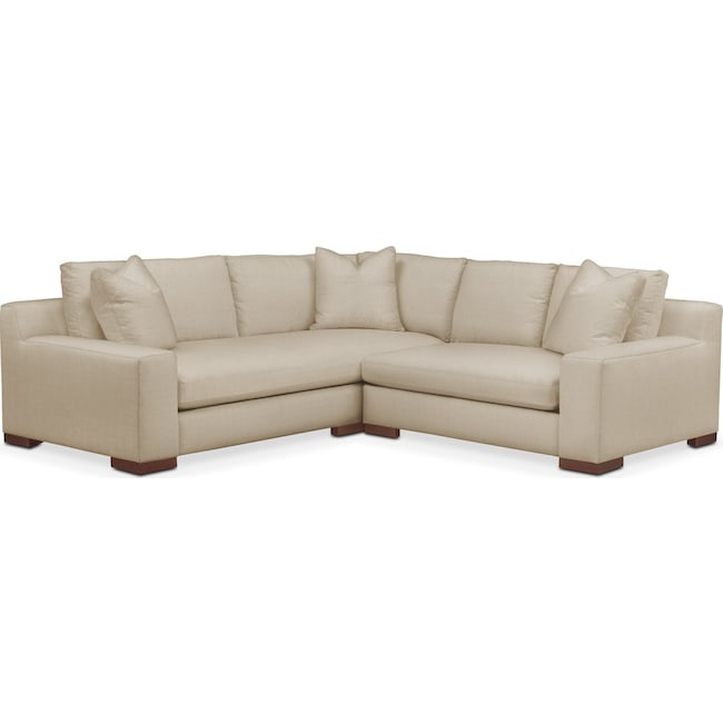 Living Room Furniture - Ethan 2 Pc. Sectional with Right Arm Facing Loveseat- Cumulus in Depalma Taupe