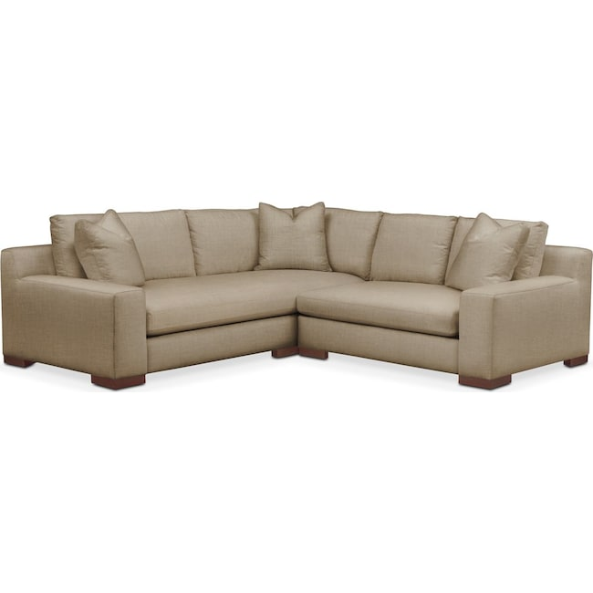 Living Room Furniture - Ethan 2 Pc. Sectional with Right Arm Facing Loveseat- Cumulus in Milford II Toast