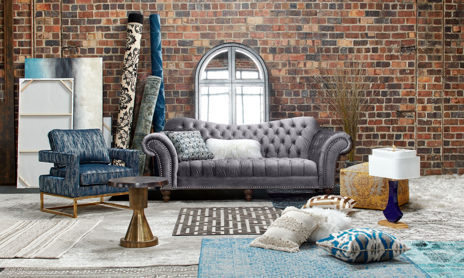 The Brittney Living Room Collection Gray American Signature - American signature sofas