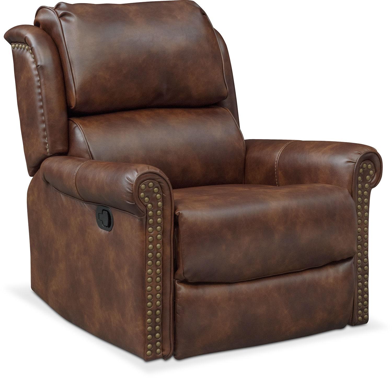 Living Room Furniture - Courtland Manual Glider Recliner - Pecan