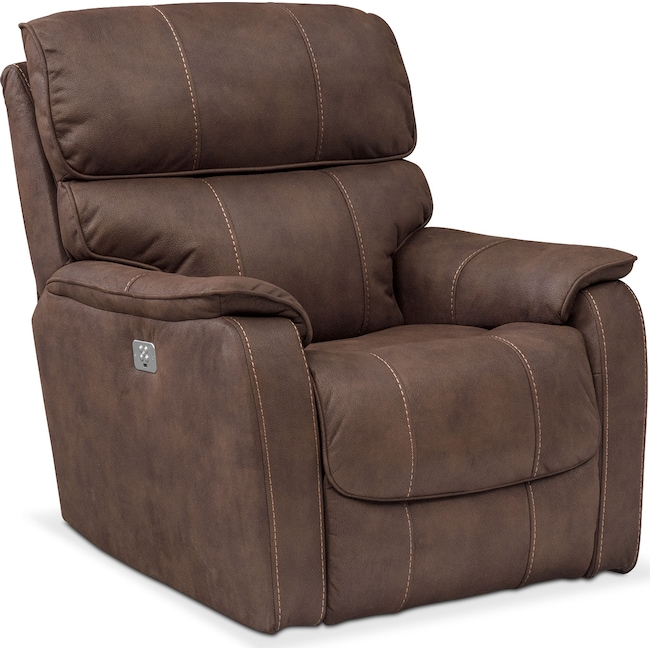 Living Room Furniture - Mondo Dual Power Recliner - Brown