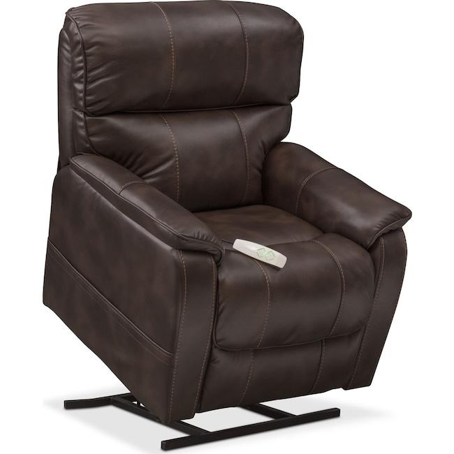 Living Room Furniture - Mondo Power Lift Recliner - Chocolate