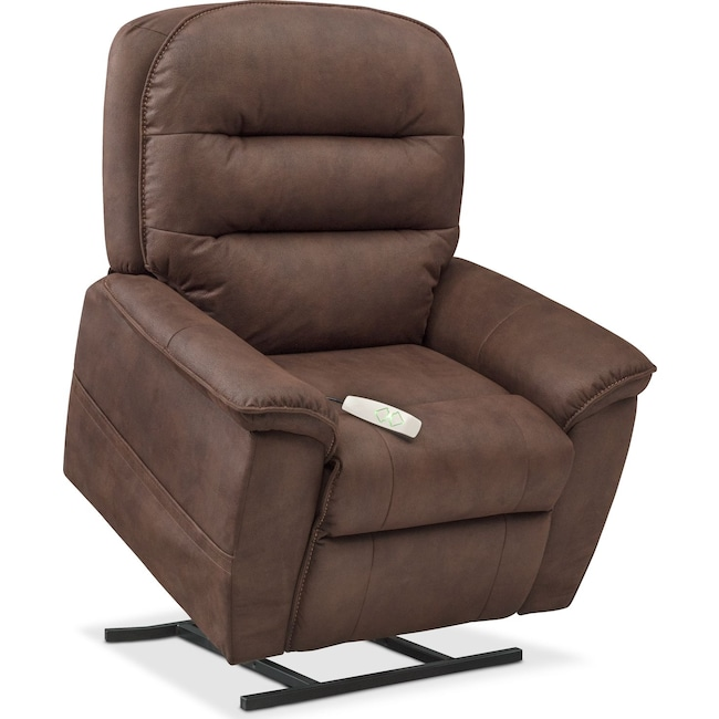 Living Room Furniture - Regis Power Lift Recliner - Brown