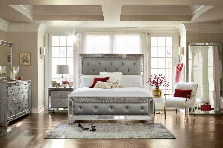 Metallic Bedroom Furniture Angelina 6 Piece Queen Bedroom Set Metallic American Signature