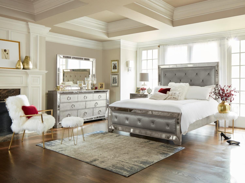 Angelina 5-Piece King Upholstered Bedroom Set - Metallic ...