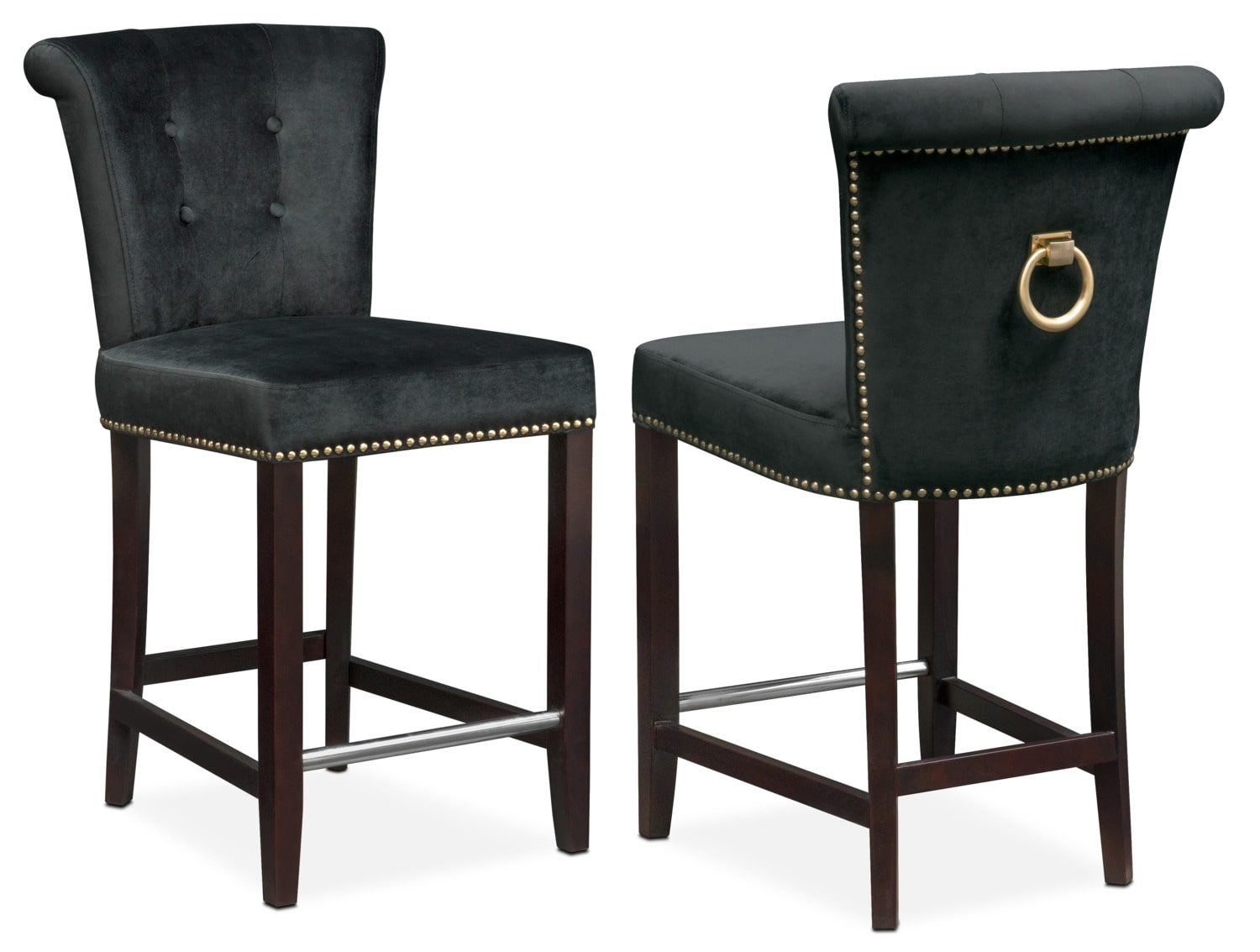 Calloway Counter Height Stool Black Gold American Signature Furniture