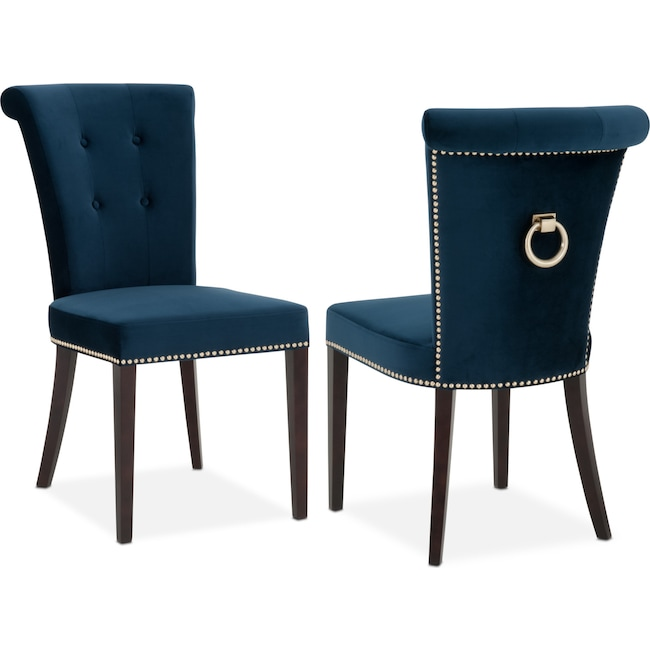 Dining Room Furniture - Calloway Side Chair - Navy/Gold