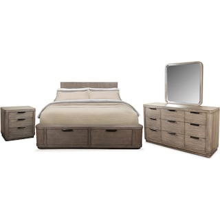Malibu 6-Piece Queen Low Storage Bedroom Set - Gray