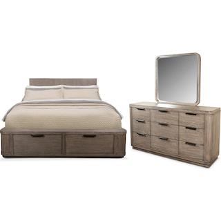 Malibu 5-Piece Queen Low Storage Bedroom Set - Gray