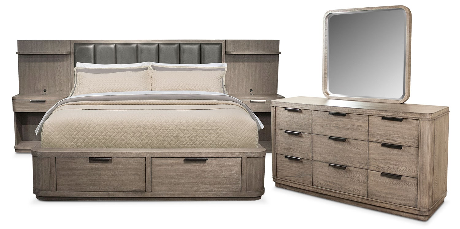 Bedroom Furniture - Malibu 5-Piece Low Upholstered Wall Storage Bedroom Set with Dresser and Mirror