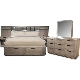 Malibu 5-Piece Queen Upholstered Wall Storage Bedroom Set with Dresser and Mirror - Gray