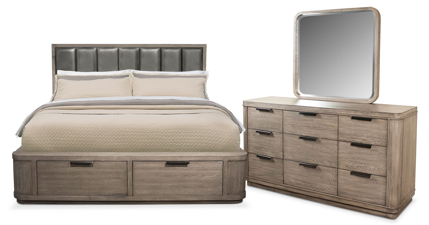Malibu 5-Piece Upholstered Storage Bedroom Set with Dresser and Mirror
