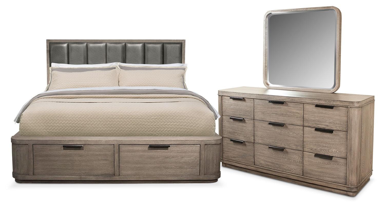 Captivating Bedroom Furniture   Malibu 5 Piece Queen Low Upholstered Storage Bedroom Set    Gray