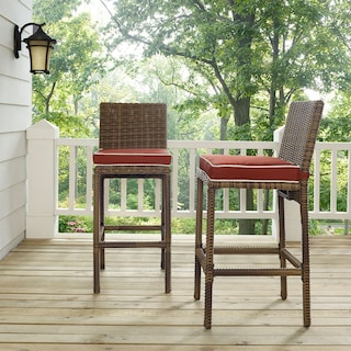 Destin Outdoor Set of 2 Barstools - Sangria