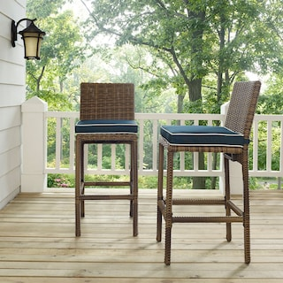 Destin Outdoor Set of 2 Barstools - Blue